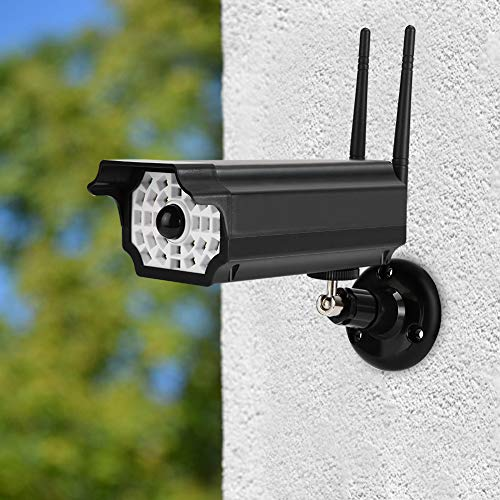 AMONIDA LED Solar Power Dummy Camera, PIR Motion Sensor Light, Outdoor Security Fake Dummy Camera Lamp, 19.7-26.25Ft for Home Garage Garden(Black)