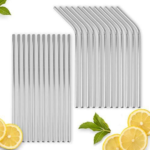 VINDOR Pailles en acier inox - réutilisables, sans plastique, pour lave-vaisselle, 24 pailles, 2 brosses nettoyantes