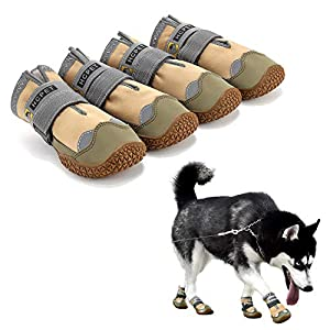Hcpet Dog Boots Waterproof for Dog with Reflective Velcro Rugged Anti-Slip Sole and Skid-Proof Outdoor Paw Wear for Medium to Large Dogs 4Ps (Khaki-Upgrade, 7: 3.2″x2.8″(LW) for 63-75 lbs)