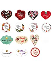 Thank You Stickers Seals Labels, 14 Different Patterns, Thank You Sticker for Gift Cards, Envelopes, Gift Boxes, Cookies,Christmas, Wedding, Birthday Party, Baby Shower (52pcs)