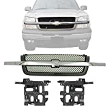 New Front Grill Mesh Primed with Chrome Center Bar + Headlight Brackets Left Driver & Right Passenger Side For 2003-2006 Chevrolet Silverado 1500 2500 3500/2002-2006 Avalanche Direct Replacement