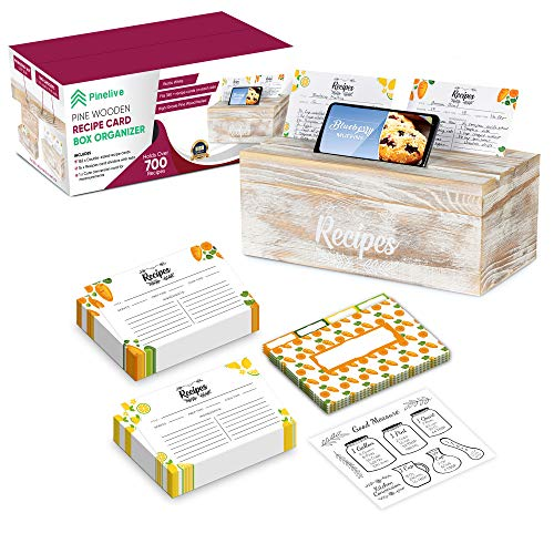 Pinelive 700+ Large Recipe Box with Cards and Dividers PLUS Phone/iPad Holder. 152 Index Recipe Cards 4x6, 16 Dividers and Measurements in Recipe Card Box. Pine Wooden Recipe Box Organizer (White)