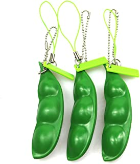 FCBB Fidget Toys 3 Pack Squeeze-a-Bean Edamame Keychain Keyring Extrusion Bean Pea Soybean Stress Relieving Chain Phone Pe...