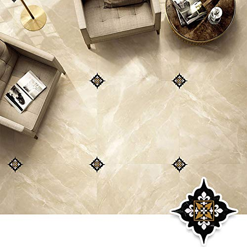 45 Pcs Diagonal Floor Stickers, Moroccan Style Kitchen Decorative Sticker Self Adhesive PVC Ceramic Tile Stickers Waterproof Wall Sticker (DJ001)