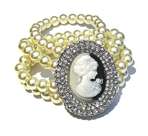 fashionjewellery4u 4 File di Perle Color Crema Avorio cammeo da Sposa con Strass di Cristallo, Bracciale da Ballo per Donne e Ragazze, Elastico Elastico Adatto a Qualsiasi Dimensione del Polso