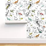 Spoonflower Pre-Pasted Removable Wallpaper, Adventure Fantasy Toile Retro Dinosaur Whimsical Kids Cute Funny Print, Water-Activated Wallpaper, 12in x 24in Test Swatch