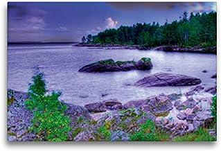 CALVENDO Lienzo de 75 cm x 50 cm Horizontal, Sehnsucht Suecia – Gran Mar de Suecia – El Vänern en la Luna Imagen de Pared, Imagen en Bastidor. Calendario Sehnsucht de Suecia Lugares