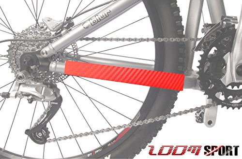 Zoom Sport Mountain Bike Chain Protector Frame Guard, Red Carbon