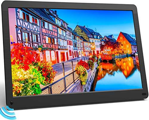 MELCAM Digitaler Bilderrahmen 17 Zoll Elektronischer Fotorahmen mit Bewegungssensor 1920x1080 IPS Bildschirm Musik/Video/Foto Player mit Kalendar Wecker Diashow, mit Fernbedienung…