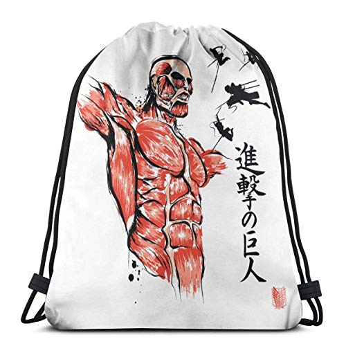WH-CLA Mochila con Cordón Ink Style Attack On Titan Wrapping Gift Bag Travel Favor Bags Cinch Bags Mujeres Outdoor Sport Impreso Gym Drawstring Bag Unique Sack Storage Goodie Bags Hombre