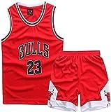 YCJL Camiseta De Baloncesto NBA Jersey Jordan # 23 Bulls Camiseta De Baloncesto Y Pantalones Cortos Traje De Jersey para Niños, Traje Deportivo De Malla Transpirable,Rojo,XL:150~160cm