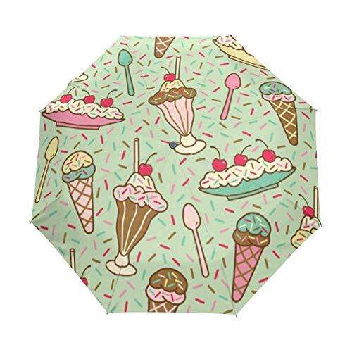 AOTISO Helado Postres Caramelo Cuchara de Cereza A Prueba de Lluvia Sol Protección UV Paraguas de Viaje Plegable de Cierre automático