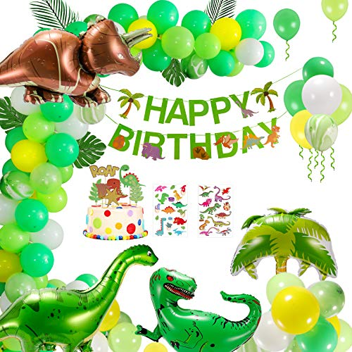 Geburtstag Partei Dekoration, Dinosaurier Dschungel Geburtstag Party Dekoration Ballons Set, Ballondekoration, Happy Birthday Banner Dekoration für Kinder