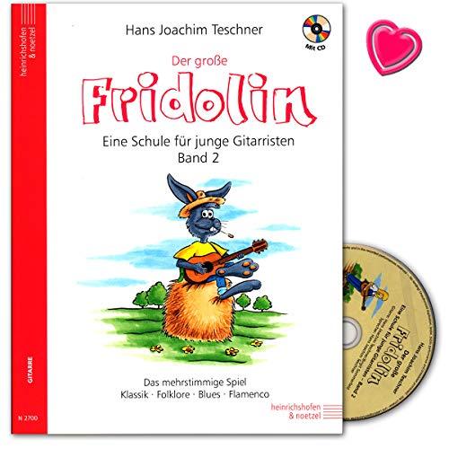 Der große Fridolin Band 2 - Gitarrenschule mit CD und bunter herzförmiger Notenklammer - Verlag Heinrichshofen N2700 9783938202630