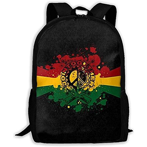Mochila Portátil Niñas Niños Bolso Reggae Rasta Marihuana Hoja Rojo Amarillo Verde Mochila para Escuela Colegio Bolsas para Portátil Mochila Al Aire Libre