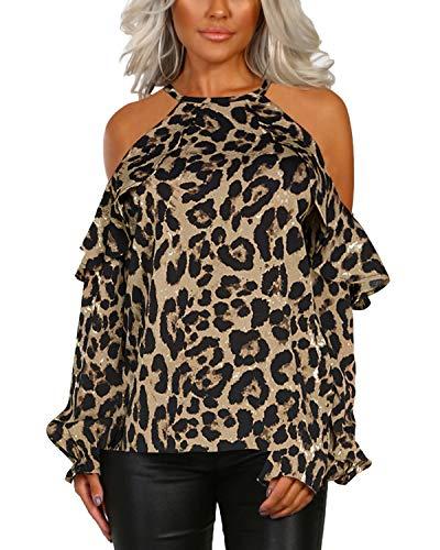 YOINS Sexy Oberteil Damen Schulterfrei Off Shoulder Bluse Langarm Top Leoparden Oberteile für Damen Elegant