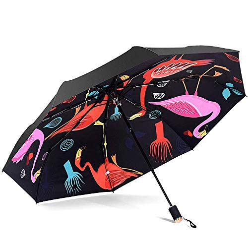 YXDEW Folding Umbrella Mini Sun Umbrella for Women Men Travel Umbrella 210T UPF 50 Windproof Design Fashion Anti-UV Umbrella Travel Umbrella waterproof (Color : Black, Size : One Size)