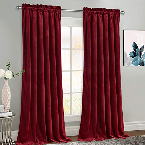 NICETOWN Red Velvet Curtains and Drapes, Extra Long Elegant Wall Backdrop Drapes for Holiday Season Home Decoration (Set of 2, Rod Pocket Design, 108 inches Long)