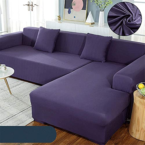 TCWDX Einfache einfarbige Polyester-Sofabezug, All-Inclusive Four Leasons Universal L-förmiger Chaiselongue-Bezug