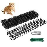 Kitwin - 10 unidades antigatos con puntas, 4,9 m, alfombra repelente de gatos para exterior y pinchos para jardín con espana, alfombra antigatos, antigatos, para valla de jardín exterior (10 unidades)