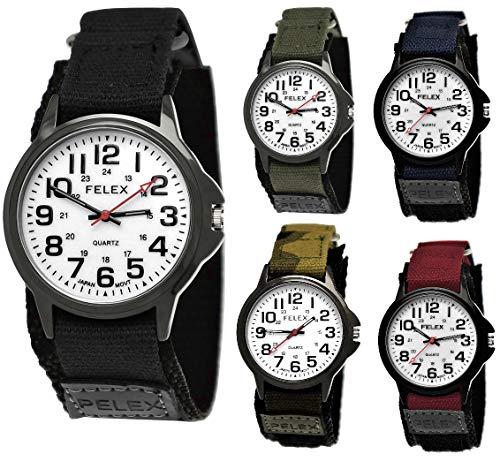 Coole NY London Kinder-Uhr Jungen-Uhr Mädchen-Uhr für Kinder Analog Quarz Textil Nylon Armband-Uhr Schwarz Anthrazit Weiß Japanisches Qualitäts Uhrwerk