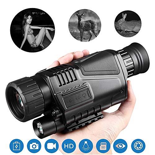 JKGNKE Nachtsichtgerät Jagd Monokulare 5X40 HD Digitalkamera mit Video-Wiedergabe USB-Ausgang Funktion für Jagd und Wildtiere 200m bei Dunkelheit Nachtsicht,Schwarz