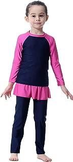 Mu Swimsuit For Girls Kid Modest Full Cover Hijab Burkini Islamic Top Pants Cap Costume 3Pcs Set