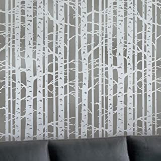 Wall Stencil Birch Forest - Allover wall pattern - Reusable stencil for DIY decor