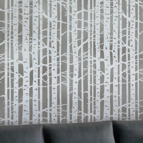 Wall Stencil Birch Forest - Large Stencils for Painting Walls – Try Stencils Instead of Wallpaper – Modern Stencils for Wall Painting – Stencil Designs for DIY Home Décor – Best Stencils