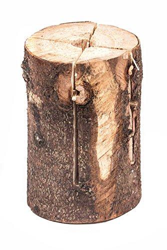 Schwedenfeuer, naturbelassener Holzstamm bearbeitet mit Zünder, dekorativ, 2-teilig