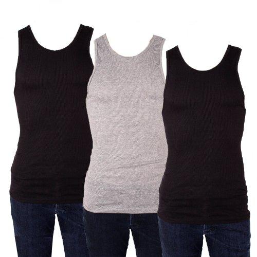 Knocker Men's 3 Tank Top Undershirts A-Shirt-Medium-2 Black, 1 Gray