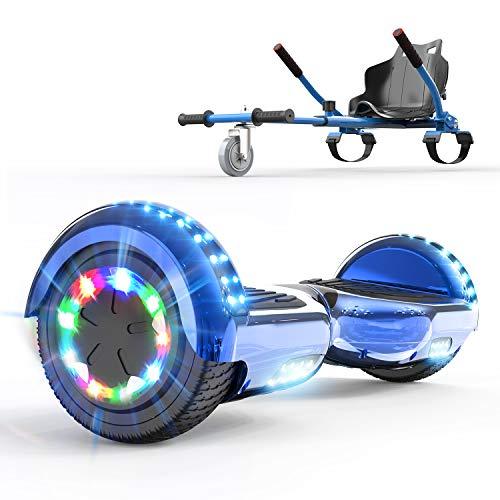 COLORWAY 6.5¡° Patinete El¨¦ctrico con Silla, Hoverboards Altavoz Bluetooth y LED, Scooter para Ni?os (Azul-Azul)