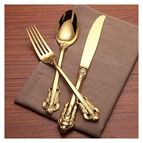 4-24PCS Lujo Golden Tabelware Vintage Cubiertos Chapado en oro Vajilla de boda de acero inoxidable Cuchillo de comedor Tenedor Cuchara cucharadita (Color : 6 Sets 24PCS)