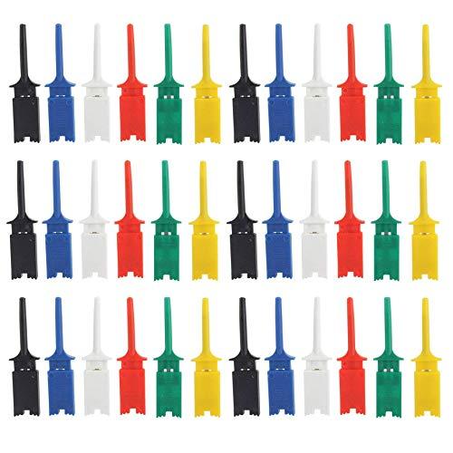 Elektronische Mini Test Sonde Set IC Haken Test Clip, Mini Grabber 6 Farbe Test Probe-Haken für Repair Tool,PCB Tester Grabber, Multimeter pinzette clip, 6 Farben, 30 Stücke, 50 mm
