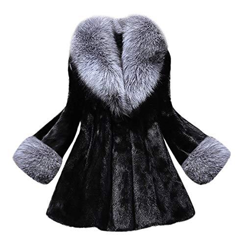 Damen Pelzmantel Parka Winter Mantel Elegant Winterjacke Frauen Fleecejacke Felljacke Große Größe