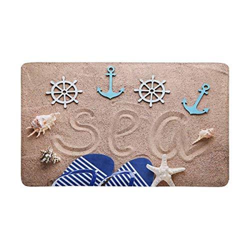 Funny Z Flip Flop Auf Strandsand mit Nautical Anchor Und Star Fish Rechteckige Türmatte Eingangsteppich rutschfest für Küche Badezimmer 15.7×23.5 Zoll