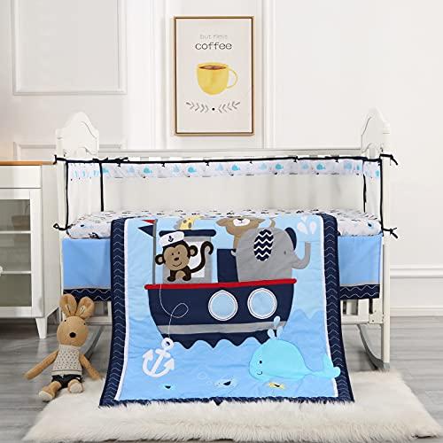 Wowelife Animal Baby Crib Sets Blue 7 Piece Monkey Elephant Lion and Giraffe Crib Bedding Sets Cotton(Sea Journey-7 Piece)
