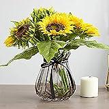 YYHMKB Girasol de Seda Artificial Decoración de Flores realistas para centros de Mesa de Boda Hogar Cocina Corona Hortensia, 7 Flores por Manojo, 2 manojos Amarillo