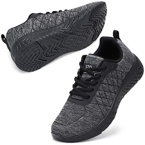 STQ Zapatos de senderismo informales con cordones para mujer, color Negro, talla 39 EU