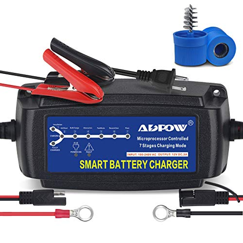 ADPOW 5A 12V Automatic Smart Battery Charger Automotive Maintainer 7-Stages Trickle Charger for Deep...