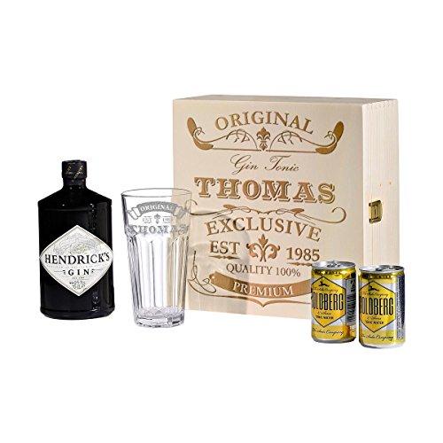 polar-effekt 5-TLG Gin & Tonic Geschenk-Set mit Hendricks - Longdrink-Glas in Geschenkbox Gin-Glas originelles Geschenk - Gin Trinker - für sie/ihn - mit Gravur - Motiv Original Exclusive