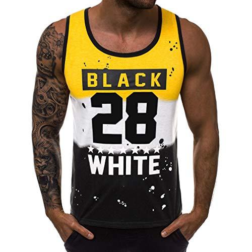 Sueltos Transpirables Camiseta sin Mangas para Hombre Impresión de Letras Ropa Deportiva para Correr al Aire Libre Chaleco de Entrenamiento Chaleco de Baloncesto Jogging Sudadera Cómodo