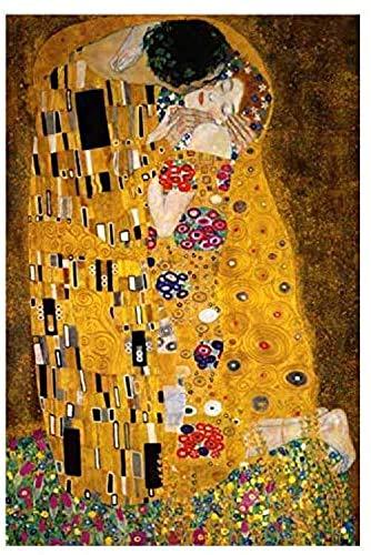DIY Cross Stitch Kit Bordado a Mano El beso de Gustav Klimt Bordado Punto de Cruz Contado Completo con Hilos y Tela a Mano Kits de Bordado decoración de la pared del hogar(40x50cm)