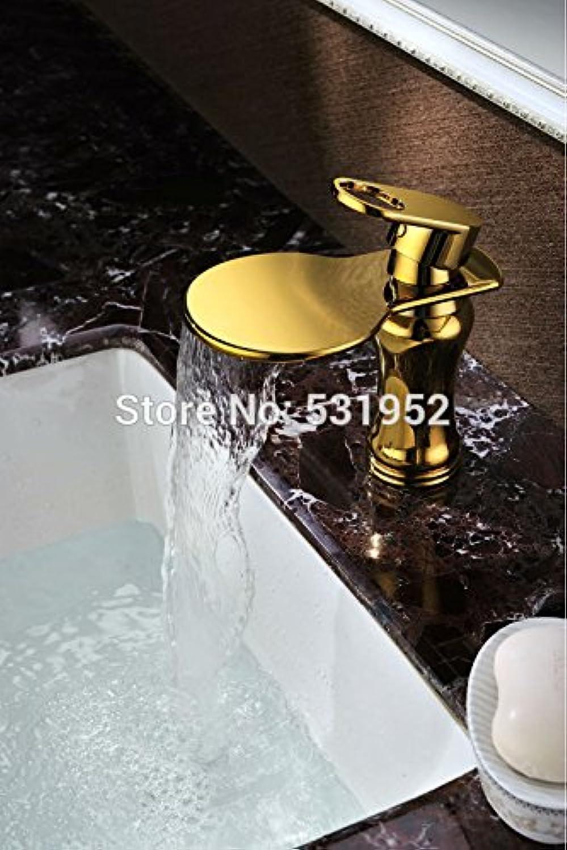 Retro Deluxe FaucetingFree Versand verGoldeten Waschbecken Wasserhahn Mixer Luxus Wasserhahn Einloch Deck montiert Wasserfall Wasserhahn Wasser Hot Sale, Messing, Gelb, tippen Sie auf