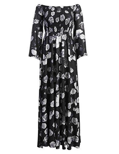 Modfine Damem Kleid Maxikleid Blumen Kleid Strandkleid Langarm Boho Schulterfrei Kleid Party Kleid in 3 Farben