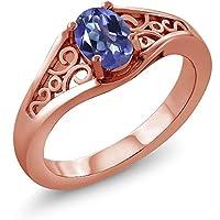 Gem Stone King 0.95カラット 天然 ミスティックトパーズ (タンザナイトブルー) 指輪 リング レディース シルバー925 ピンクゴールドコーティング