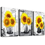 Canvas Wall Art for kitchen family Living Room Wall decor modern Black and white painting farmhouse Bedroom bathroom Decoration Yellow sunflower flowers canvas pictures Artwork for home walls 3 piece