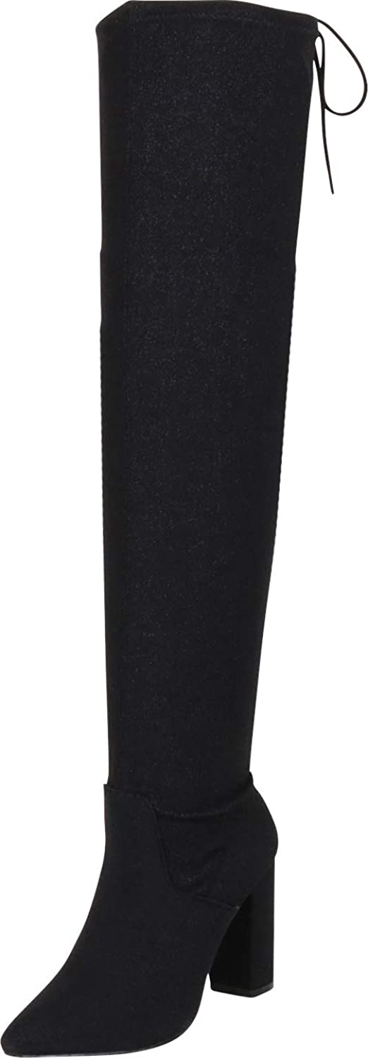 Cambridge Select Women's Thigh-High Pointed Toe Glitter High Heel Over The Knee Boot