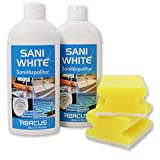 2x 500 ml Sani White Sanitärpolitur/Keramikpolitur/Edelstahlpolitur mit Schwämmen (7013)