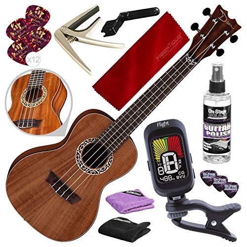 Dean UKE D KOA Concert Ukulele with Clip-On Tuner and Complete Starter Accessory Pack
